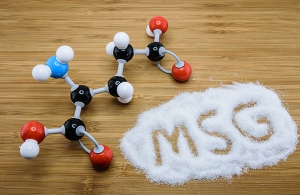 Molecule of glutamate (MSG), a flavor enhancer in many asian food